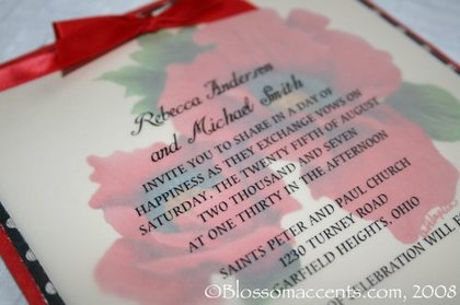 wo beautiful vibrant red poppy blossoms perfect for any celebration. Poppy artwork is printed on weave textured cardstock with a fun black and white polka-dot border as well as a rich mulberry red outer border. Text on vellum. Also, a beautiful handtied red satin bow for a finishing touch of uniqness. -  - Blossom Accents