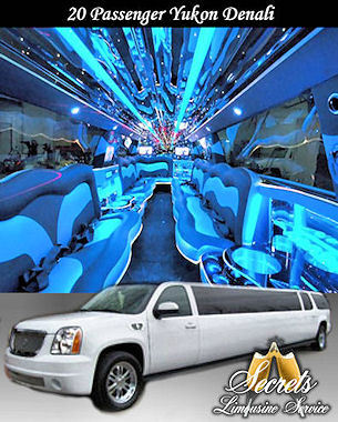 20 Passenger Yukon Denali stretch limo with with 2- LCD TVs, Premium DVD / AM / FM / CD with surround sound, Fiber Optic Mirrored Ceiling and Bar, Dimmer Controlled Lights and Hands Free Intercom.