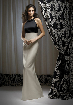 Full-length Bella Satin dress w/ beaded neckline and empire waist. Beading always complements bodice color