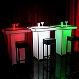 Lited Cocktail tables, same table available with different lights to change the mood. -  - Lioness Events & A Lioness Event Production