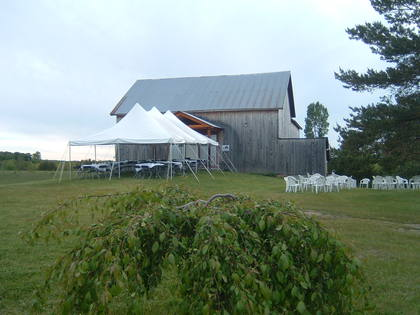 Add a tent to the barn at the front or side for large parties.