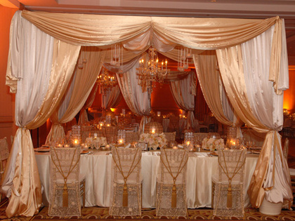 Full Satin Swag Drape of Head table, Sheer chair covers an elegant dinner night to remember - Flowers and Decor - Lioness Events & A Lioness Event Production