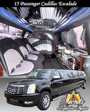 14 Passenger  Escalade stretch limo with with 2- LCD TVs, Premium DVD / AM / FM / CD with surround sound, Fiber Optic Mirrored Ceiling and Bar, Dimmer Controlled Lights and Hands Free Intercom.  -  - Secrets Limousine Service