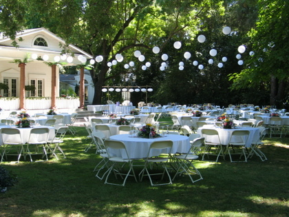 A large, shaded lawn accommodates 250+ guests for your special event.  The Chinese lanterns pictured are available at no extra charge! - Ceremonies - The White House at Churn Creek Golf Course