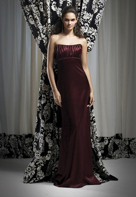 Full-length strapless Stretch Charmeuse dress w/ beading at empire waist and shirred bodice. Beading always complements dress color