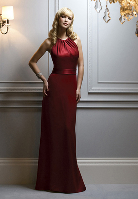 Full-length Renaissance halter dress w/ gathered neckline and natural waist. Matching belt.