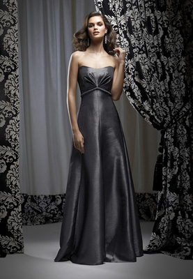 Full-length strapless Iridescent Taffeta dress w/ beading at empire waist. Beading always complements dress color