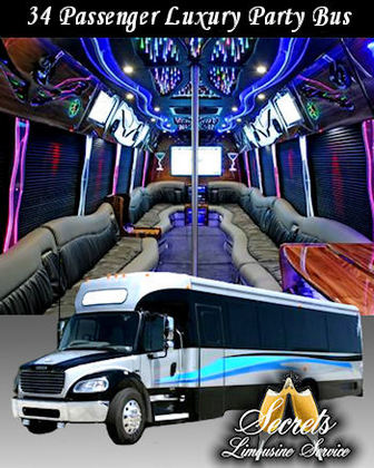"34 Passenger Limo party Bus with One (1) 52"" LCD TV, Five (5) 19"" LCD TV's, In motion satellite tv system. AM-FM-CD-DVD Player w/5.1 Dolby Surround Sound and IPOD Hook up and Game port. (8) Eight Lighted 5.5"" Speakers, (2) Two 10"" Sub Woofers LED Ceiling Lights Hi Gloss Wood Mini Side Bar. 