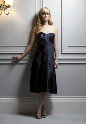 Tea-length Stretch Charmeuse dress w/ front drape and empire waist