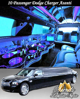 Black 10 passenger Stretch Charger Asanti limo with 2- LCD TVs, Premium DVD / AM / FM / CD with surround sound, Fiber Optic Mirrored Ceiling and Bar, Dimmer Controlled Lights and Hands Free Intercom.