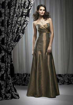 Full-length strapless Iridescent Taffeta dress w/ empire waist