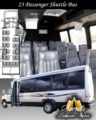 23 Passenger shuttle bus with leather captain chair seating, 3 TV'S. Great for transporting guests of the wedding, corporate transfers or pickups from the airport. Large luggage storage in rear.