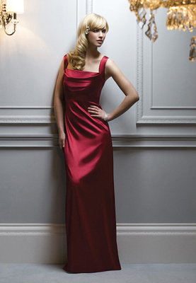Full-length Stretch Charmeuse dress w/ draped neckline