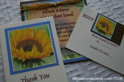 This sunny and cheerful sunflower blossom invitation is perfect for a late summer or autumn wedding. Each detail is hand touched including hand placement of blue and brown cardtock paper borders as well as a hand tied raffia bow. Text on clear vellum. -  - Blossom Accents