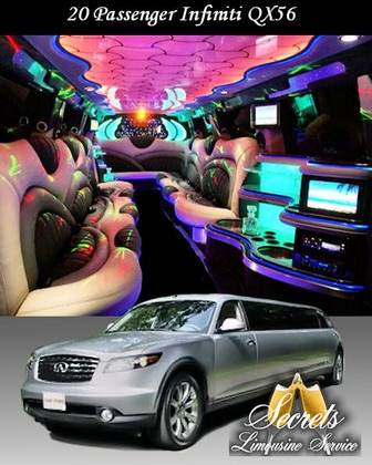20 PASSENGER Infiniti QX56 STRETCH LIMO WITH 5-LCD TVs, PREMIUM DVD/AM/FM/CD/I-POD WITH SURROUND SOUND, FIBER OPTIC MIRRORED CEILING AND BAR, DIMMER CONTROLLED LIGHTS AND HANDS FREE INTERCOM.   -  - Secrets Limousine Service