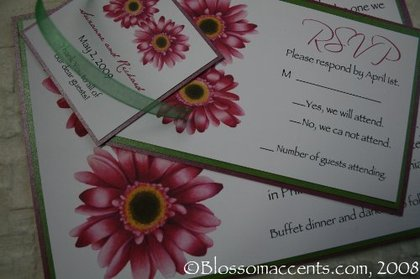 Flirtatious gerbera daisy blossoms create the loveliest gerbera daisy wedding invitation. Accentuated with pearlescent green and purple borders. Royal purple envelope lining in a very chick green envelope. -  - Blossom Accents