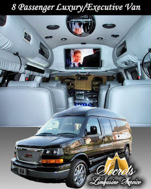 8 Passenger Black Limo Van with 26&quot; Hi Definition LCD TV System W/DVD, IPOD Charging Stations, Headphones, High Intensity Ceiling Light Panels, 20&quot; Chrome wheels and a Limo Bar.