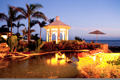 The wedding gazebo looks over the Caribbean and is surrounded by lush, tropical gardens.  - Ceremonies - Moon Dance Cliffs