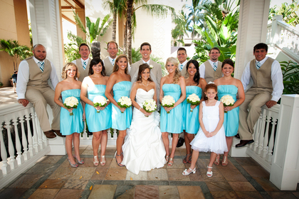 Bridesmaid Dresses by Bill Levkoff.  Guys attire by JCPenny Wedding Party Attire - Honolulu Wedding In June in Honolulu, HI, USA