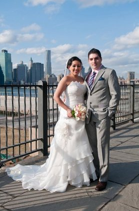 At the Brooklyn Promenade. The Newlyweds - New York Wedding In March in New York, NY, USA