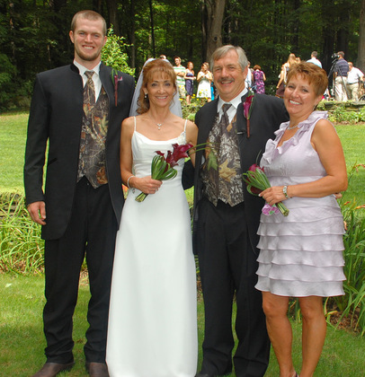 The camo was NOT my idea!!! Wedding Party Attire - Brattleboro Wedding In August in Brattleboro, VT, USA