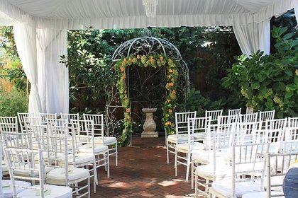 Tent by Ocean Tent Rentals in the garden of The Gables The Ceremony - Eurydice and Bill's Wedding in Long Beach, NJ, USA