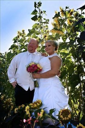 In The Sunflower Garden The Newlyweds - Courtney and Clay's Wedding in Olympia, WA, USA