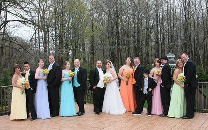 "My ""rainbow"" wedding.  All the boy's vests & ties matched the girl's dresses. Wedding Party Attire - Kimberly and Dale's Wedding in Eatontown, NJ, USA"