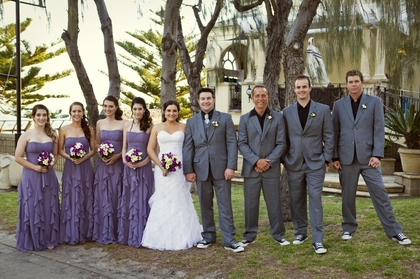Bridesmaids wore Bari Jay dresses in Wisteria and Groom & groomsmen wore suits from Suits-Leederville and Converse All Stars. Wedding Party Attire - Alix and Noel 's Wedding in Perth, WA, Australia