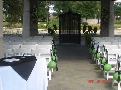 Ceremony setup at the gazebo on Walton Island, Elgin, IL The Ceremony - Elgin Wedding In September in Elgin, IL, USA