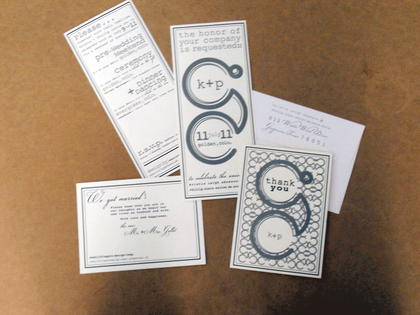 Wedding Stationary by Etchwick Studio, http://www.etchwick.com/ The Invitations - Our Wedding in Golden, CO, USA