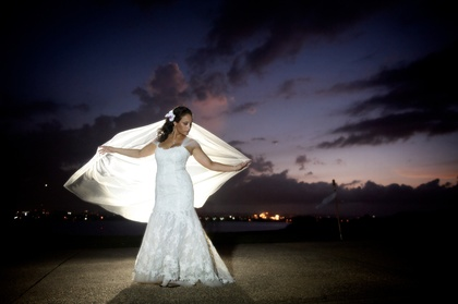Before the sun completely set prior to the ceremony. The Wedding Dress - Maria and Patrick's Wedding in San Juan, Puerto Rico