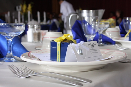 Favors all wrapped in blue! Flowers and Decor - Susan  and Craig's Wedding in Chicago, IL, USA