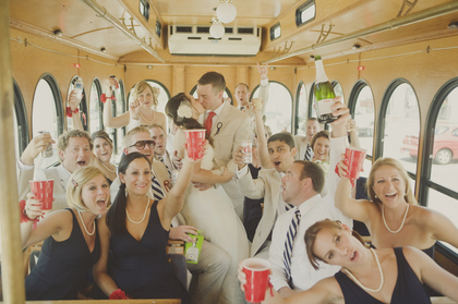 We rented a trolley and had the best time with our wedding party on it!  Wedding Party Attire - Justin and Celeste 's Wedding in Mystic, CT, USA