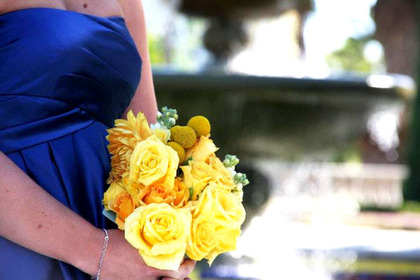 blue dresses & yellow bridesmaid bouquets Wedding Party Attire - San Diego Wedding In October in San Diego, CA, USA