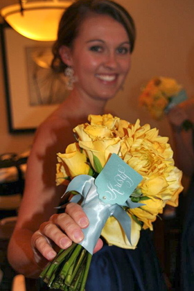 bridesmaid bouquet wrap Wedding Party Attire - San Diego Wedding In October in San Diego, CA, USA