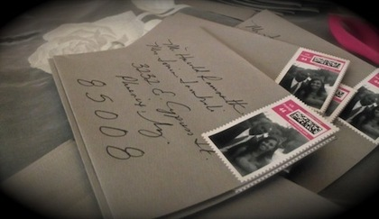 Save the date envelopes with custom stamps The Invitations - maria and gerard 's Wedding in Isla Mujeres, Mexico