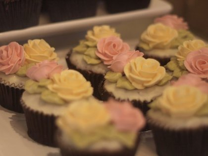 Perfect Endings cupcakes with buttercream flower tops Cakes and Desserts - Clara and Vi's Wedding in Napa, CA, USA