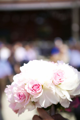 Bridal bouquet was pale pink peonies with pink roses. Bridesmaids bouquets were varying shades of pink roses. By Lighthouse Florist Flowers and Decor - Ashley and Chris's Wedding in Milwaukee, WI, USA