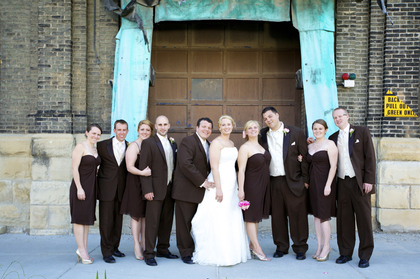 Photos taken nearby Best Place at Historic Pabst Brewery. Groom/Groomsmen attire provided by Dubois formal wear. Bride & bridesmaids purchased dresses from Eva's Bridal. Bridal gown is Vienna, by Maggie Sottero. Bridesmaid dresses by Bill Levkoff style 568 in Chocolate. Wedding Party Attire - Ashley and Chris's Wedding in Milwaukee, WI, USA