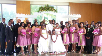Wedding attire in Sugarplum and Kiwi Green Wedding Party Attire - Jasmine and Tremaine's Wedding in Monroe, LA, USA