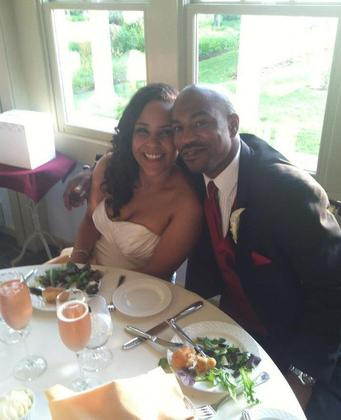 Enjoying dinner with my new hubby! The Newlyweds - Kimberlee and Jarrett's Wedding in Stevensville, MD, USA