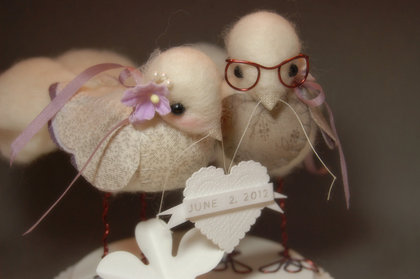 Got the wedding cake topper off Etsy.com, they are handmade needle felt lovebirds from BentBranch  http://www.etsy.com/shop/BentBranch Cakes and Desserts - Ryan and Laurie's Wedding in Wooster, OH, USA