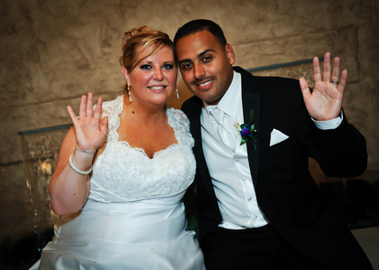 end of the day, still smiling :) The Newlyweds - Magan and Miguel 's Wedding in Lyndhurst, OH, USA
