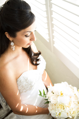 Hair and makeup by Kathy Balderas. Bouquet by Victor the Florist.  Hairstyles - Dariella and Anthony's Wedding in Santa Barbara, CA, USA