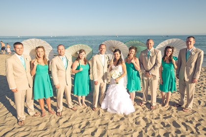 Men wore Alfresco suits from Mission Tuxedo with Mermaid color ties and vests. Ladies wore Alfred Angelo dresses in Jade chiffon.  Wedding Party Attire - Dariella and Anthony's Wedding in Santa Barbara, CA, USA