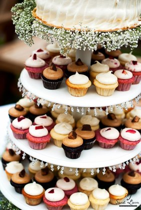 Cupcakes by Mix Cupcakes in Reno and topper cake by Safeway in South Lake Tahoe.  Cakes and Desserts - Holly and James's Wedding in South Lake Tahoe, CA, USA