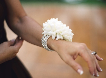 Mother of the Bride corsage - football mums and bracelets from Etsy Flowers and Decor - Holly and James's Wedding in South Lake Tahoe, CA, USA