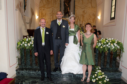 Us with best man and matron of honour Wedding Party Attire - Clarissa and Marco's Wedding in Mandello del Lario, Italy