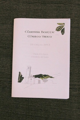 This is the mass booklet which we made for the ceremony, using the same drawing of the church which I had done for the invitations. It was mainly in Italian with the readings and the vows also in English so that English speaking guests could follow the important bits. The Ceremony - Clarissa and Marco's Wedding in Mandello del Lario, Italy
